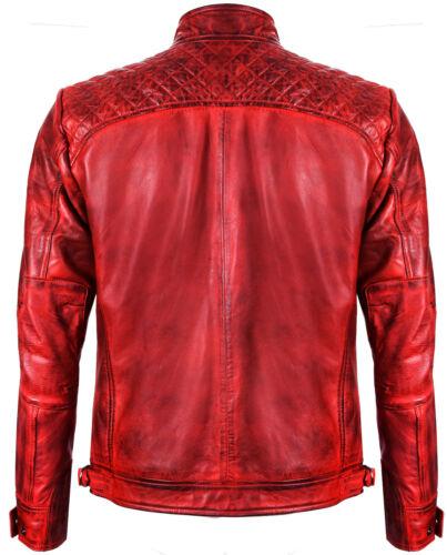 da trapuntata da motociclista Giacca rossa zip in pelle 100 corsa vintage con retrò casual dgEqgn