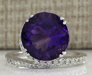 9-22-Carat-Natural-Amethyst-14K-White-Gold-Diamond-Ring