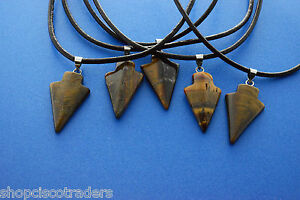 Golden-Tiger-Eye-Arrowhead-Gemstone-Handmade-Necklace-Shamans-Protection-Jewelry