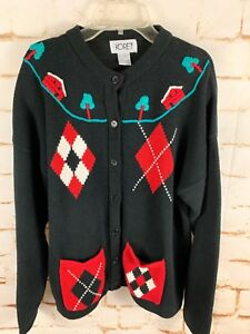 b56d24156 NWT Foley s Koret Black Sweater Womens Sz XL Embroidered Cardigan ...
