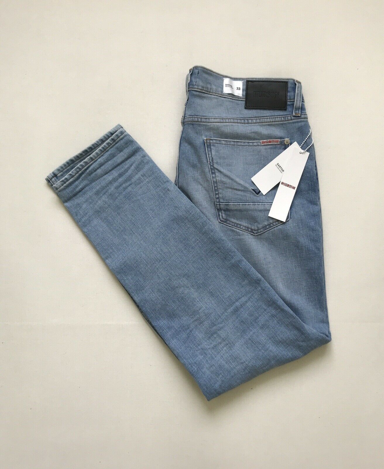NWT Size 33X32 Men's HUDSON SARTOR Relaxed Skinny Stretch Distressed Denim Jeans