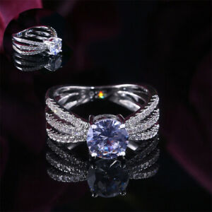 Rings-Elegant-Ladies-Women-Size-6-10-Gifts-Wedding-White-Sapphire-Jewelry-Ring