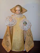 "Vtg Catholic Statue HOLY INFANT OF PRAGUE JESUS GOLD SATIN VESTMENT~Extra Lg 21"""