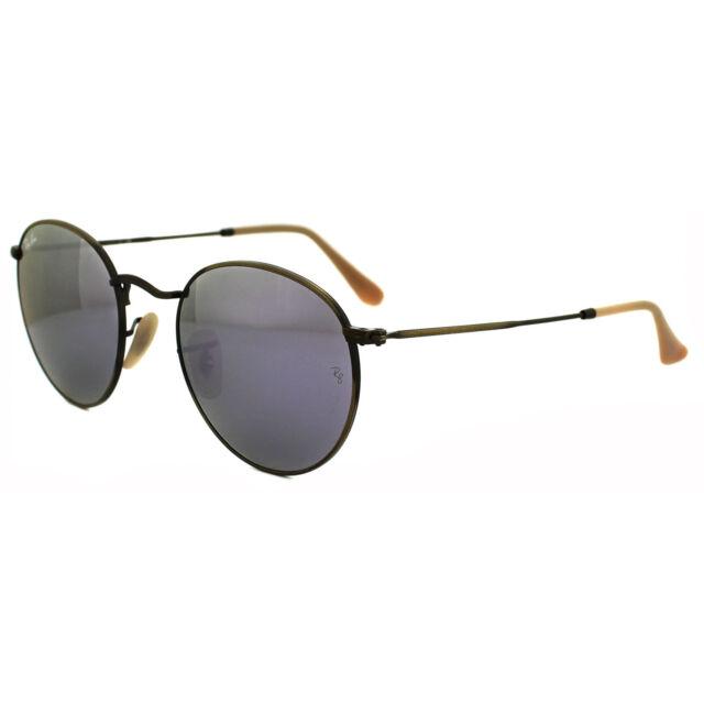 0572d114770 Ray-Ban Sunglasses Round Metal 3447 167 4K Bronze Copper Lilac Mirror Medium