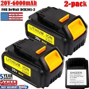 2X-6AH-For-DeWalt-20V-20-Volt-Max-XR-Lithium-SHGEEN-Battery-DCB204-DCB206-DCD785