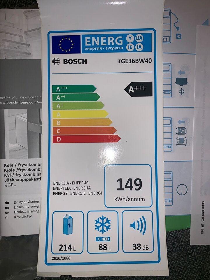 Køle/fryseskab, Bosch KGE36BW40, 214 liter