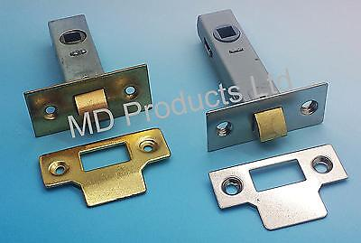 Tubular Mortice Door Latch Catch 63mm -75mm Brassed & Nickel