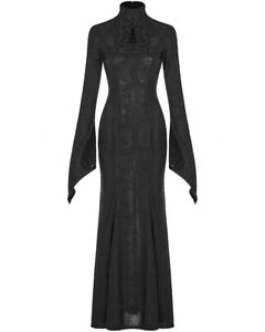 Punk-Rave-Long-Gothic-Witch-Maxi-Dress-Black-Jacquard-Lace-Long-Sleeve-Morticia