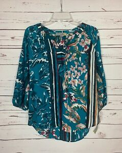 Figueroa-amp-Flower-Anthropologie-Women-039-s-S-Small-Floral-Top-Blouse-NEW-With-TAGS