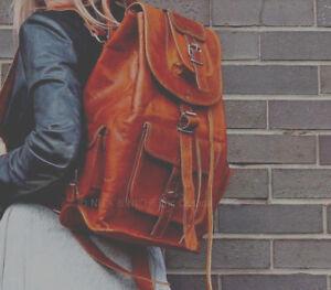 Style Echtes Leder Rucksack Dunkelbraun Neu Tasche Vintage gaSww