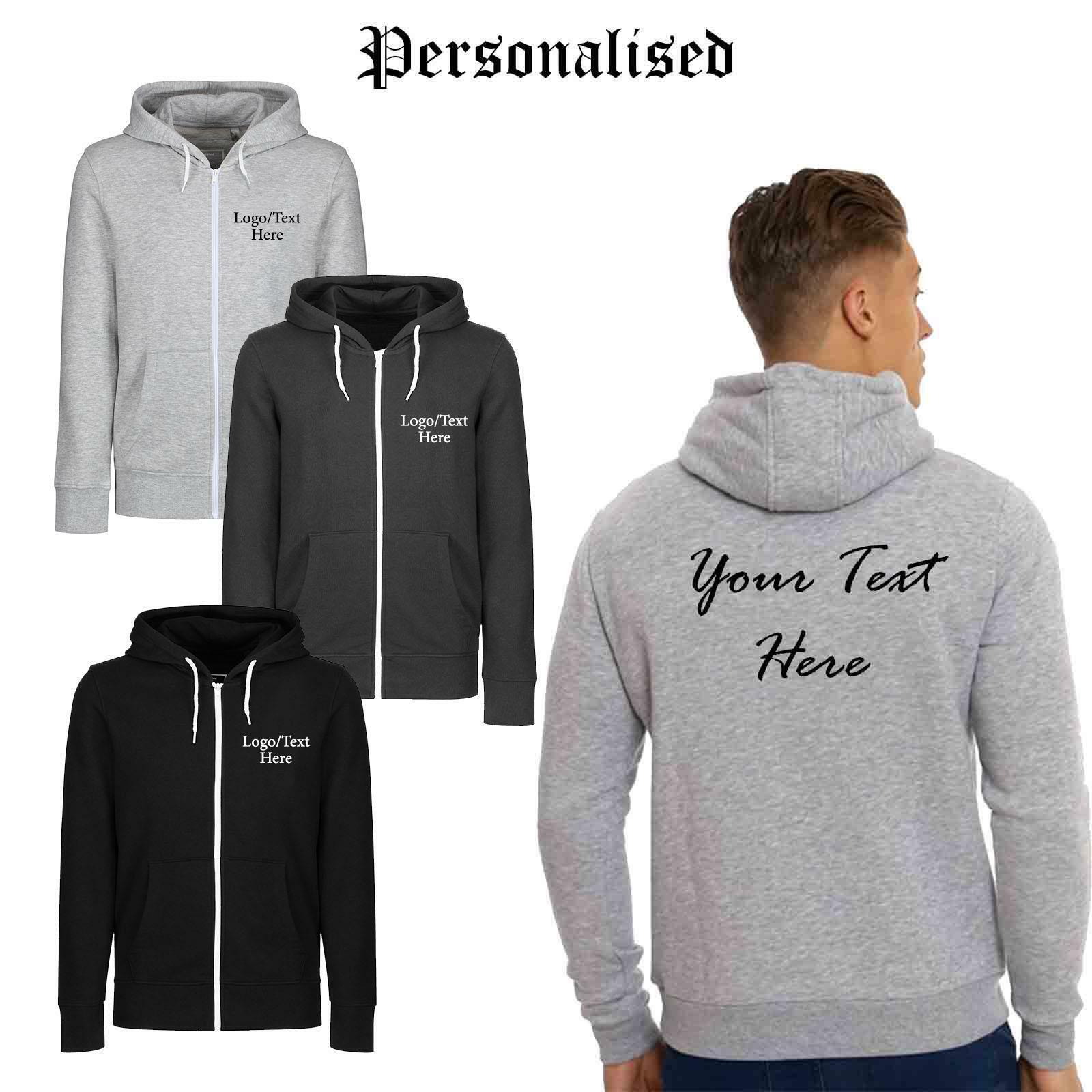Mens Personalised Zip Up Hoodie Printed Text Jacket Sweatshirt Hooded Top S-XXL