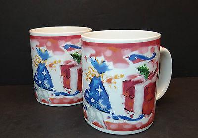Starbucks Deborah Reinhart Christmas Present Set of 2 Coffee Mugs Doves Red