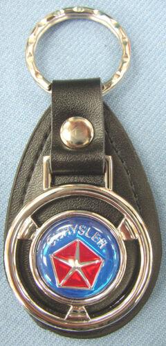 Details about  /Vintage Blue Chrysler Pentastar Mini Steering Wheel Black Leather Key Ring Fob