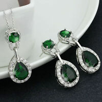 White Gold Plated CZ Cubic Zirconia Earrings & Necklace Set -