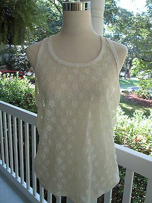 A++ Sz Xl,100% Nylon Sexy Ivory Lace 6o Camisole Glamorous & Cool As Well!!