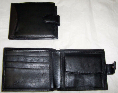 Men/'s smart Leather Wallet Black /& Brown