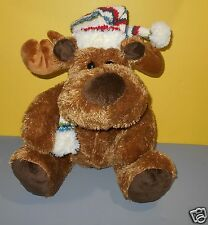 "All Mine Toys - Sitting 15"" Brown Moose Stuffed Plush Knit Christmas Cap Scarf"