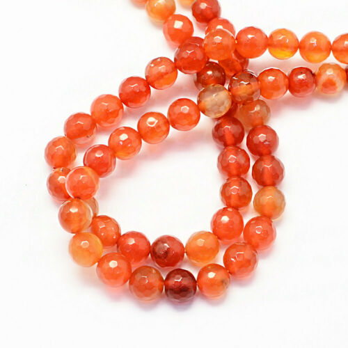 BD700 15 Agate Beads 8mm Faceted Stunning Shades of Vibrant Oranges
