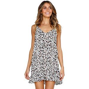 ed69413e3f7a Details about Women Ladies Leopard Print Slip Dress Holiday Beach Mini  Dresses Ruffle Sundress