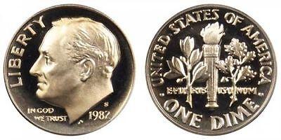 1982 S Proof Roosevelt Dime Ten-Cent Coin 10c