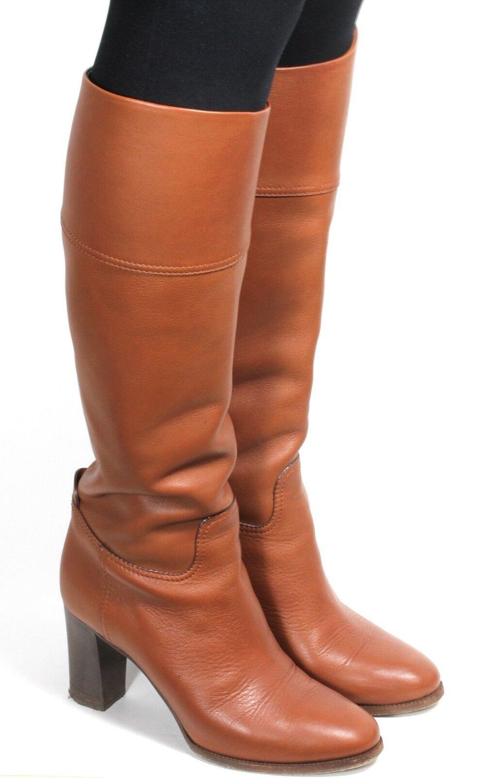 Damenstiefel Vintage Stiefel Hipster Luxus High Heels Cognac Ralph Lauren 38,5