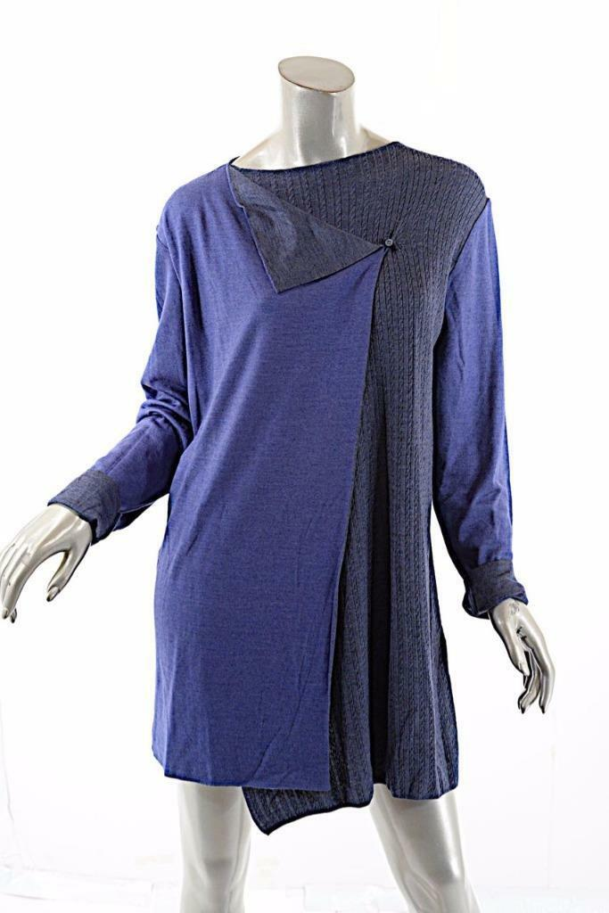 PASHMERE Periwinkle Indigo bluee Wool Blend Cable Tunic Sweater - NWT - M -
