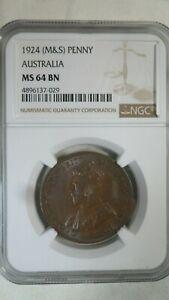 Australia 1 Penny, 1924, NGC MS 64 BN