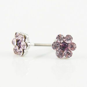 14k-white-Gold-plated-with-Swarovski-crystals-small-purple-flowers-earrings
