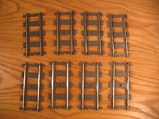 8 pieces Lego 4515 9v straight train tracks lot, quantity 8x, dark gray
