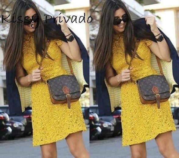 ZARA Mustard Yellow LACE Dress with Flounced Skirt S  BNWT  REF  7972 056