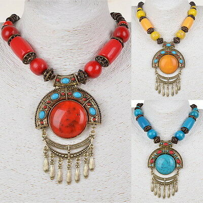 Tribal Statement Acrylic Tassel Retro Copper Wood Bead Pendant Popular Necklace