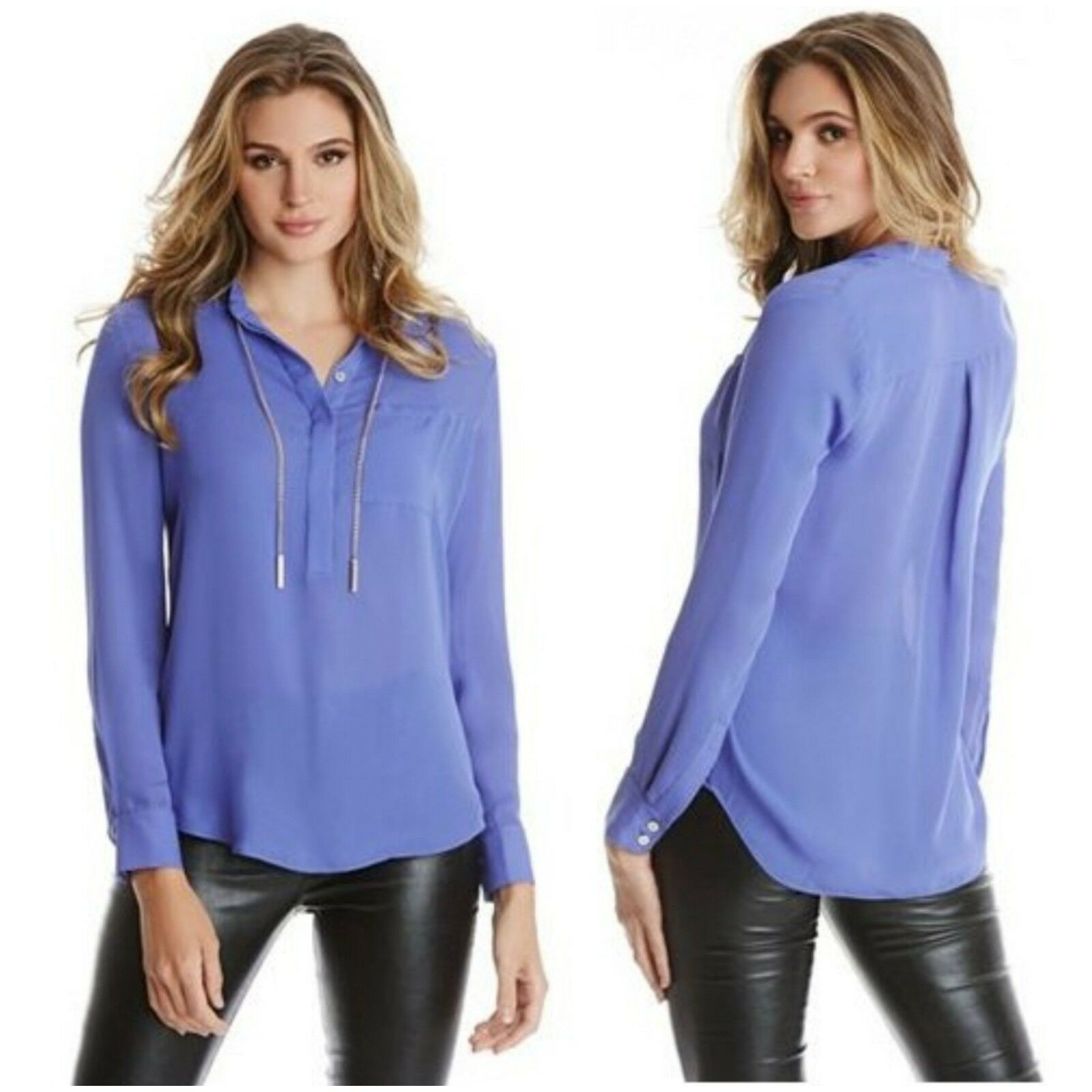 NWT GUESS BY MARCIANO lila Gold-tone chain TAYLOR BLOUSE Größe S