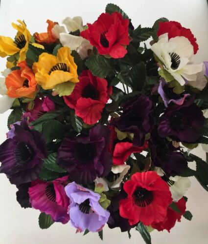 Artificial Silk Flowers 5 X Bunches Of Mixed Anemones Grave Garden Home