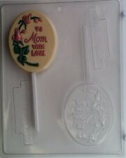 TO MOM WITH LOVE LOLLIPOP CLEAR PLASTIC CHOCOLATE CANDY MOLD M004