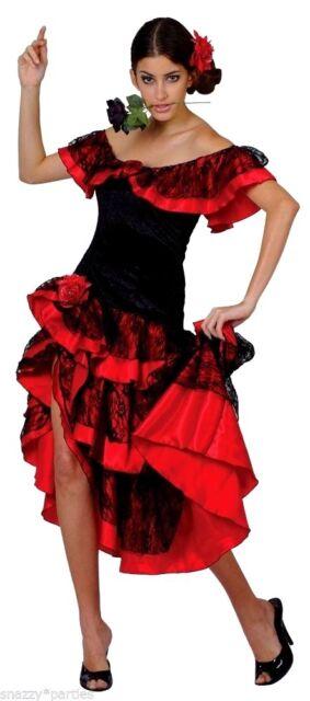 41ec23579ef0 Ladies Spanish Senorita Flamenco Dancer Fancy Dress Halloween ...