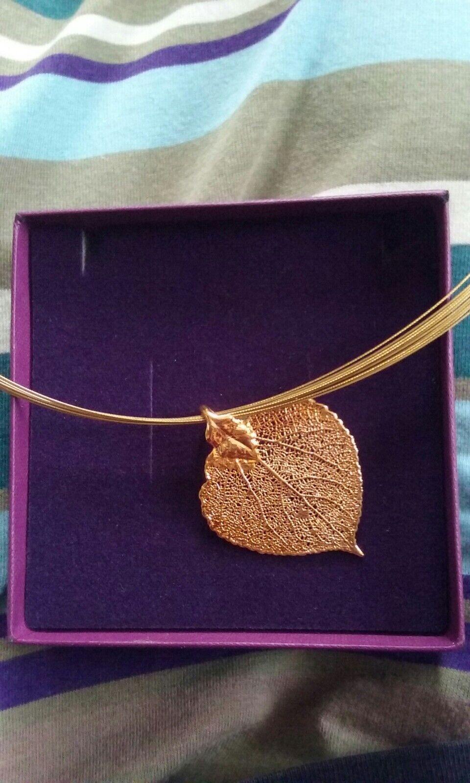 gold clad autumn, winter leaf wire pendant
