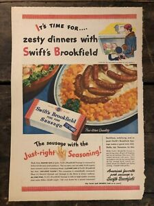 RARE-Vintage-1945-Swift-039-s-Brookfield-Pork-Sausage-AD-WWII-Pre-War-Quality-11x15