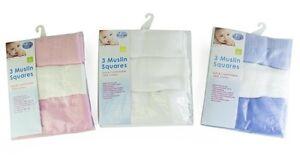 FäHig First Steps 3er Pack Musselin Quadrate Fürs Baby Weich 100% Baumwolle 60x60cm Baby