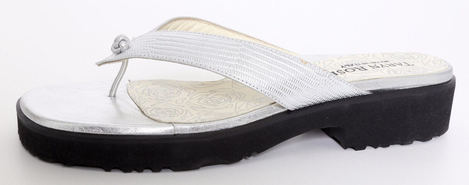Taryn Rose Tyra Crinkle Metallic Leather Sandals argent femmes Sz 41.5 EUR 6497