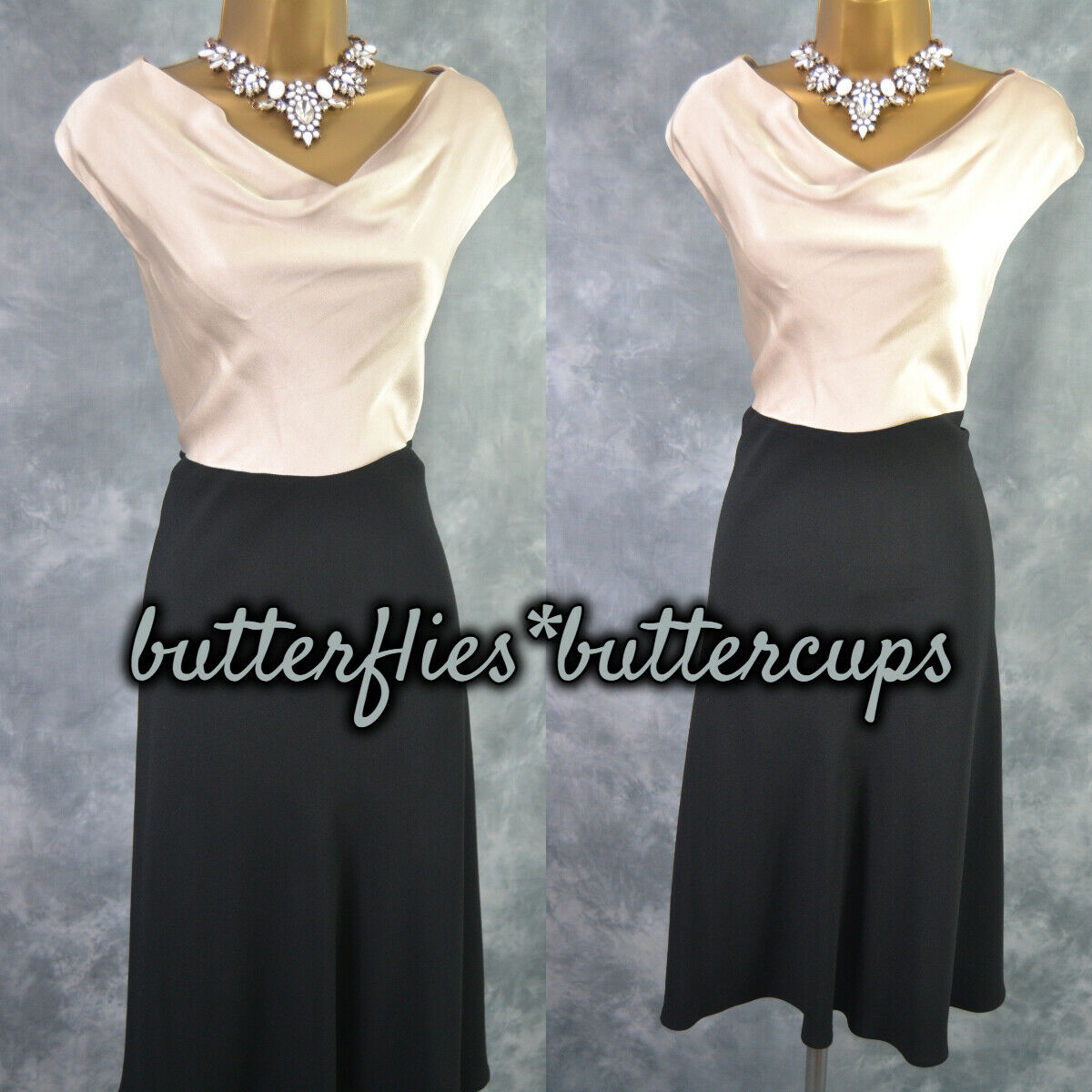 ~ FENN WRIGHT MANSON ~ Size 10 12 Black Champagne Cowl Dress Mother of the Bride