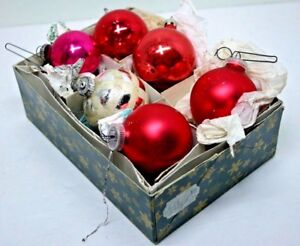 Details About Vintage Christmas Ornaments Hand Blown Glass West Germany Mixed Lot Of 6 Balls