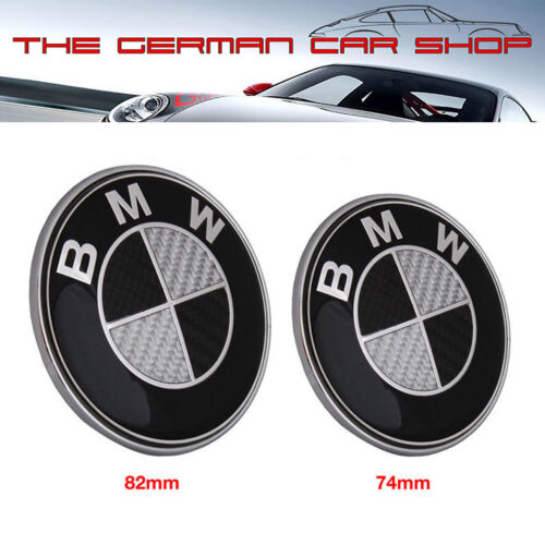 Black Boot+Bonnet Carbon Effect Badge Set 74MM 82MM For BMW 1 2 3 4 5 7 Z3 Z4 X3