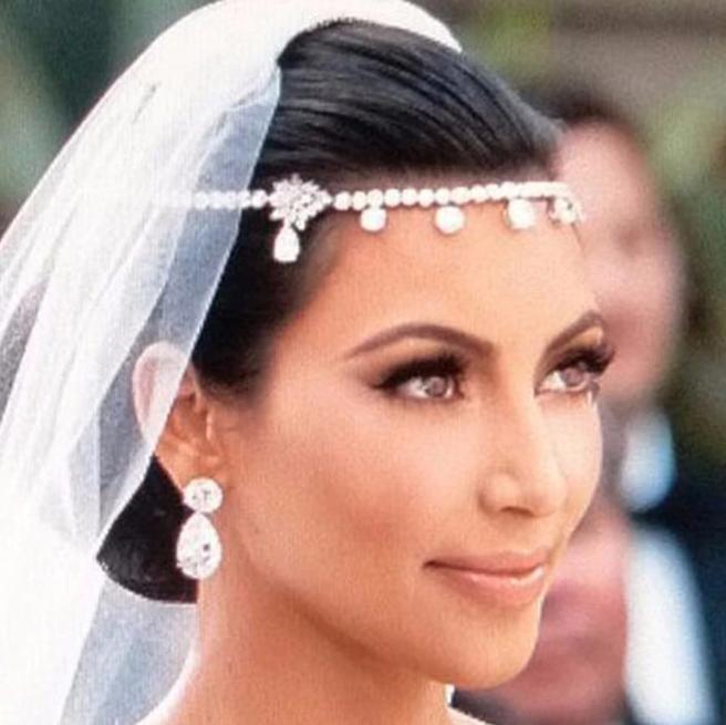 Kim Kardashian Celebrity Rhinestone Chain Indian Wedding Forehead Headpiece