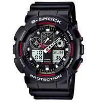 Mens Casio G-Shock red detail ana/digi chronograph watch GA-100-1A4ER