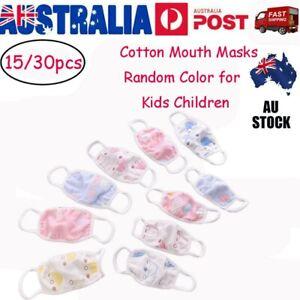 15/30PCS Kids Children Washable Dustproof Cotton Half Face Masks Mouth Cover VIC