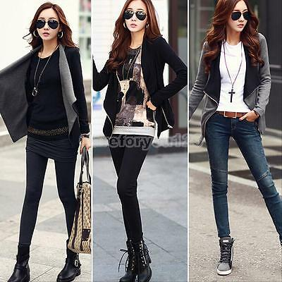 Women Fashion Slim Coat Blazer Jacket Casual Long Sleeve Zipper Suit Outwear M/L