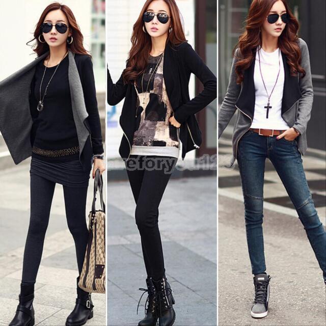 Women Fashion Slim Coat Blazer Jacket Casual Long Sleeve Zipper Suit Outwear M/L