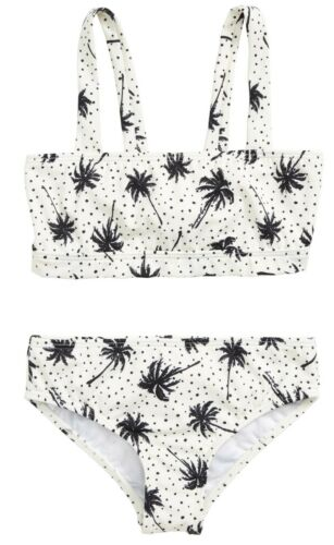 Girl/'s Billabong Totally Rad Sure Nck Two-piece Swimsuit Palm Trees Dots Size 12