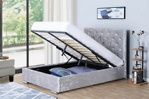 Remarkable Details About Velvet Ottoman Bed Storage End Gas Lift Up Crushed Stefano Frame Mattress Option Onthecornerstone Fun Painted Chair Ideas Images Onthecornerstoneorg