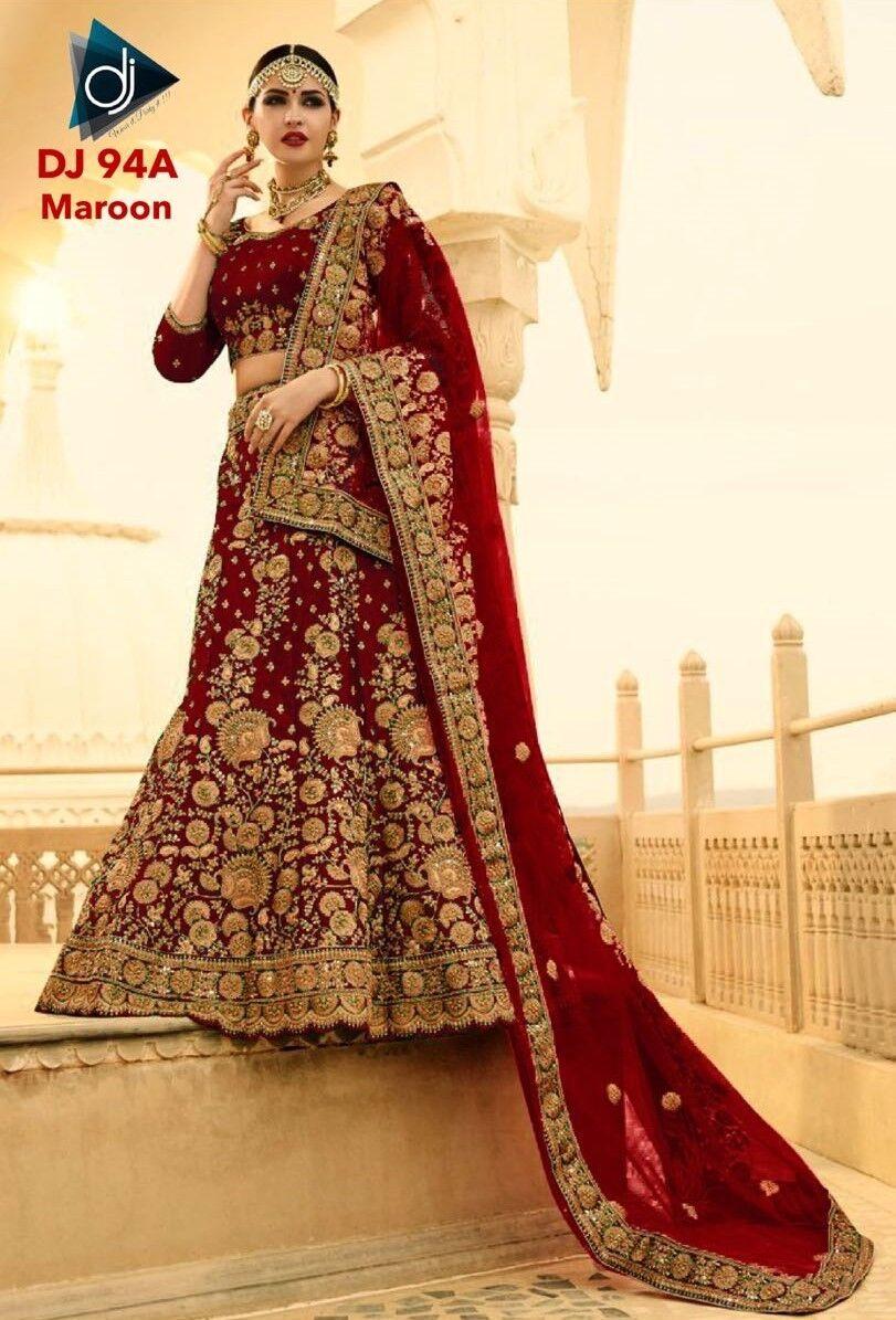 Wedding Wear Lehenga Designer Indian Latest Bollywood Lengha Choli Skirt Maroon